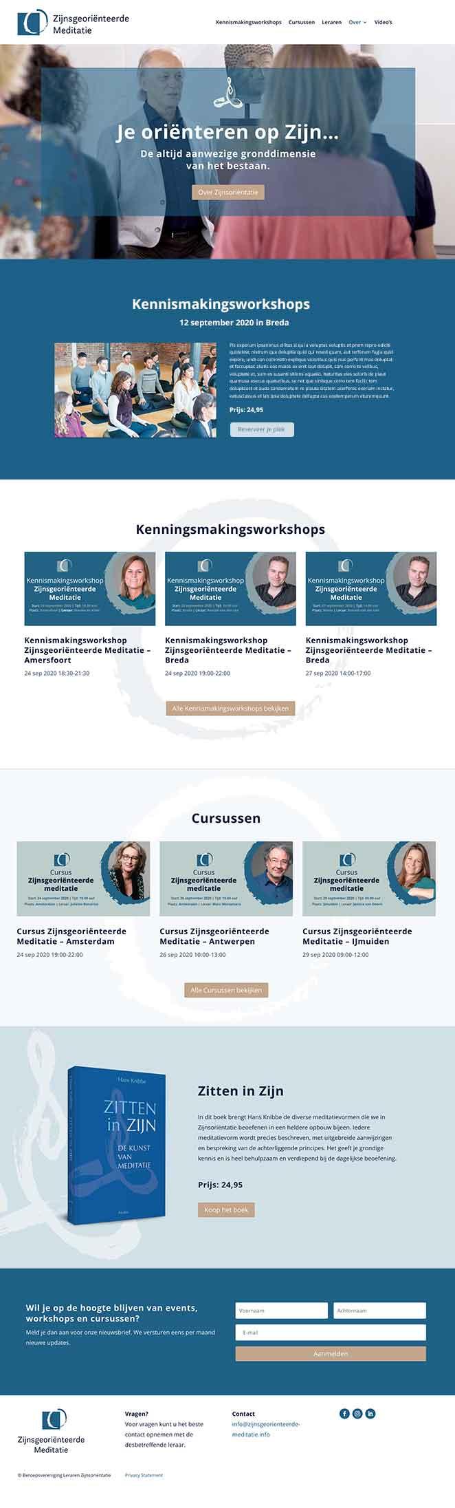 Zijnsmeditatie website ontwerp